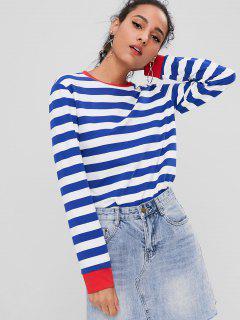 Contrasting Striped Sweatshirt - Blue L