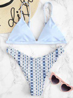 High Cut Printed Bikini Set - Light Sky Blue M
