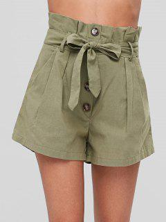 Belted Buttoned Shorts - Army Green M