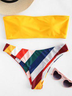 Conjunto De Bikini Palabra De Honor De La Raya Del Contraste - Caucho Ducky Amarillo M