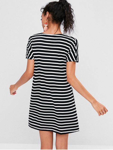 sale Striped Tie Front Mini Dress - BLACK S Mobile