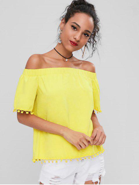 Schulterfreie Pompoms Bluse - Gelb S Mobile