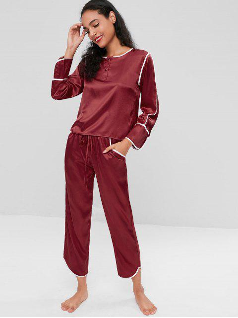sale Satin Long Sleeve Pajama Set - RED WINE 2XL Mobile
