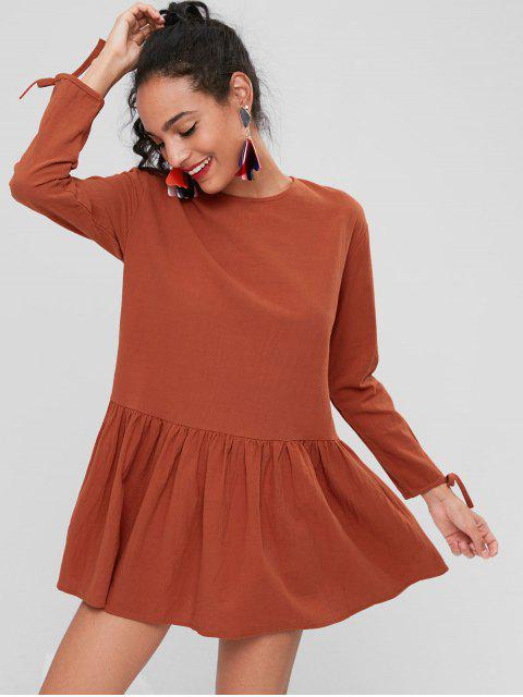sale Long Sleeve Back Button Dress - CHOCOLATE L Mobile