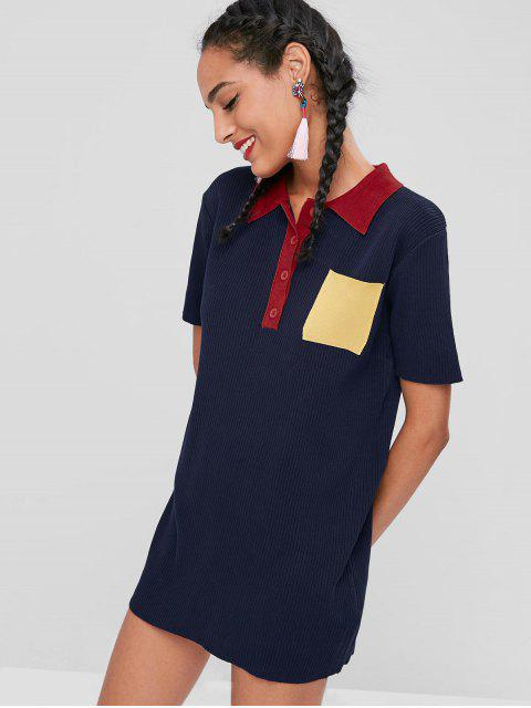 affordable Color Block Ribbed Dress - DEEP BLUE ONE SIZE Mobile