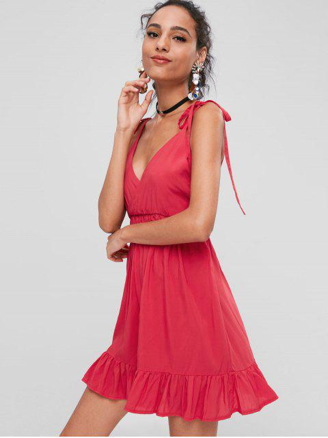 ladies Tied Straps Backless Mini Dress - LOVE RED XL Mobile