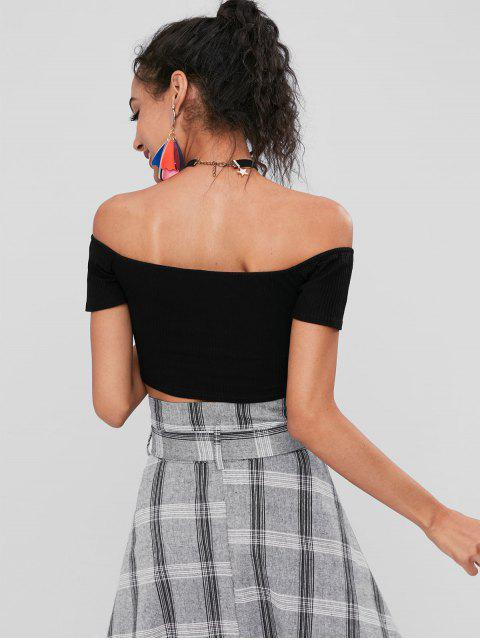 womens Off Shoulder Crop Knnotted Tee - BLACK 2XL Mobile