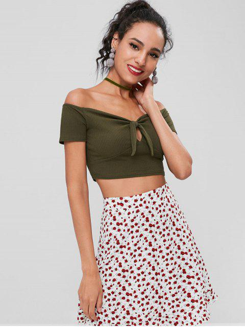 lady Off Shoulder Crop Knnotted Tee - ARMY GREEN 2XL Mobile