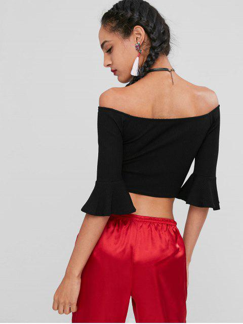 hot Off Shoulder Buttons Crop Tee - BLACK 2XL Mobile