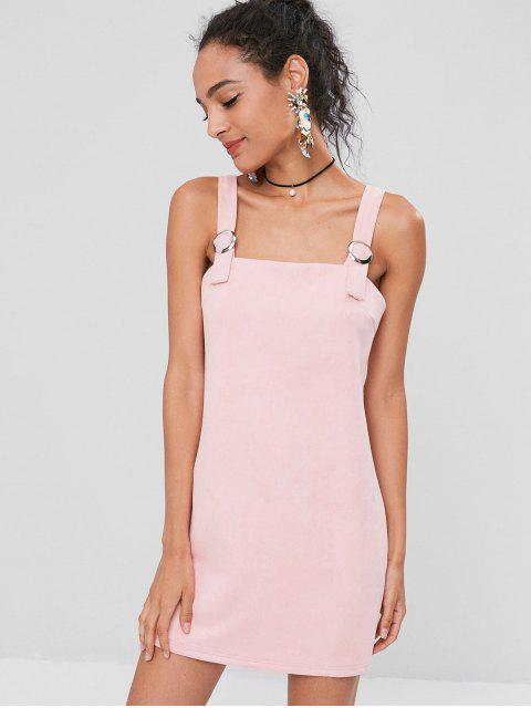 womens Square Faux Suede Mini Dress - PINK BUBBLEGUM M Mobile