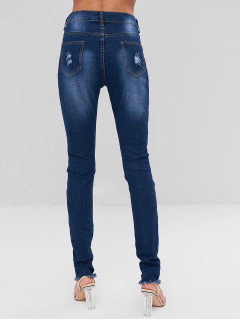 lady Floral Embroidered Frayed Hem Jeans - DENIM DARK BLUE S Mobile