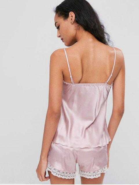 chic Satin Lace Trim Cami Pajama Set - PINK L Mobile