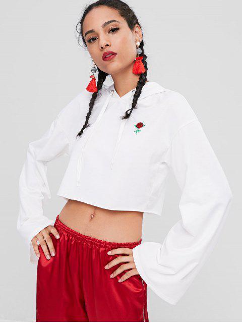 Sweat-Shirt à Capuche Court avec Broderie Florale - Blanc S Mobile