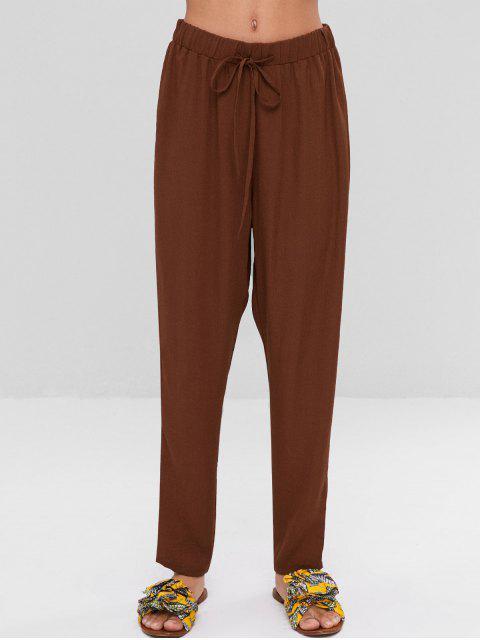 Pantalon à Taille Haute avec Cordon de Serrage - Brun S Mobile