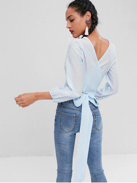 women Crop Gingham Wrap Knot Blouse - LIGHT BLUE XL Mobile