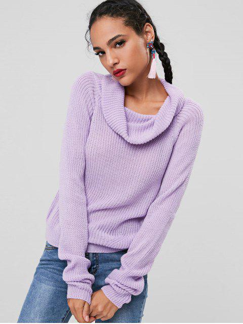 buy Cowl Neck Chunky Knit Sweater - LAVENDER BLUE ONE SIZE Mobile