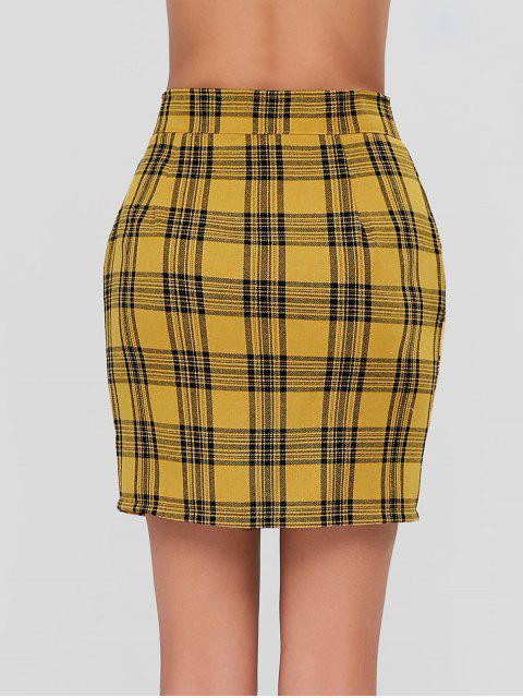 fancy Zip Front Mini Plaid Skirt - MUSTARD M Mobile