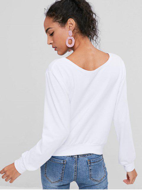 womens Rose Print Graphic Sweatshirt - WHITE S Mobile