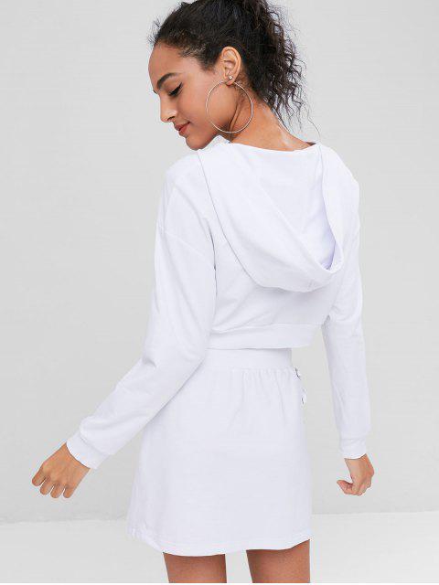 Ensemble Sweat-Shirt à Capuche et Jupe avec Lacets - Blanc XL Mobile