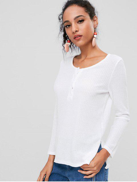fashion Buttoned Side Slit Tee - WHITE M Mobile
