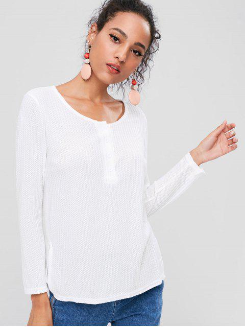 T-Shirt Fendu sur le Côté avec Boutons - Blanc L Mobile