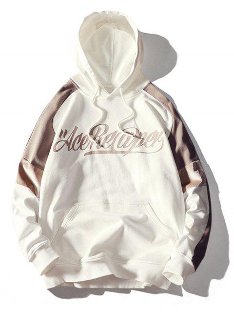 outfits Velvet Panel Letter Print Raglan Sleeve Hoodie - LIGHT KHAKI M Mobile