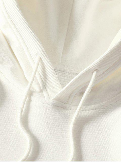 ladies Stripe Hem Letter Print Pullover Hoodie - WHITE 2XL Mobile