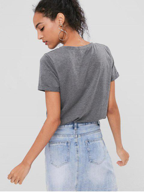 affordable Cuffed Sleeves Letter Tee - GRAY M Mobile