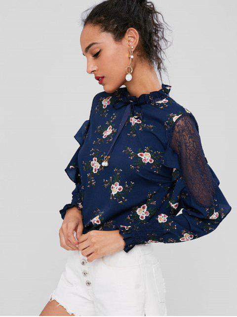 best Floral Ruffled Lace Insert Blouse - DEEP BLUE S Mobile