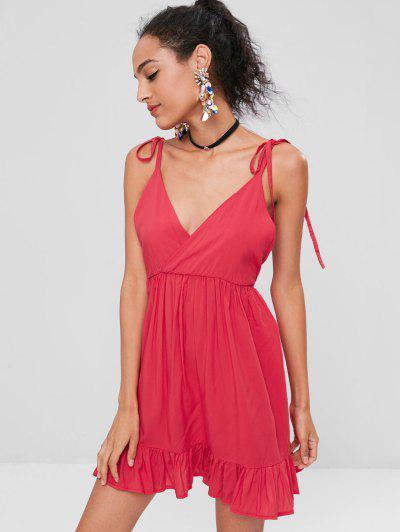 Mini Vestido Sem Encosto De Cintas Amarradas - Amor Vermelho M