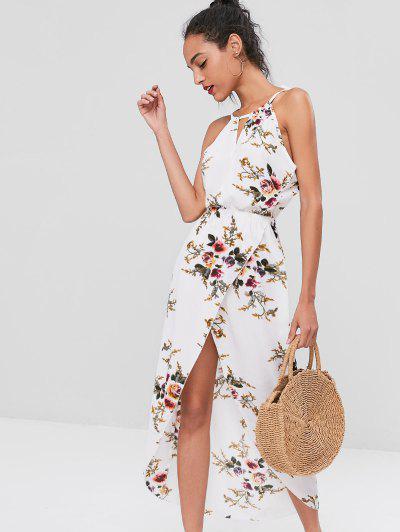 Cut Out Floral Overlap Dress - White Xl