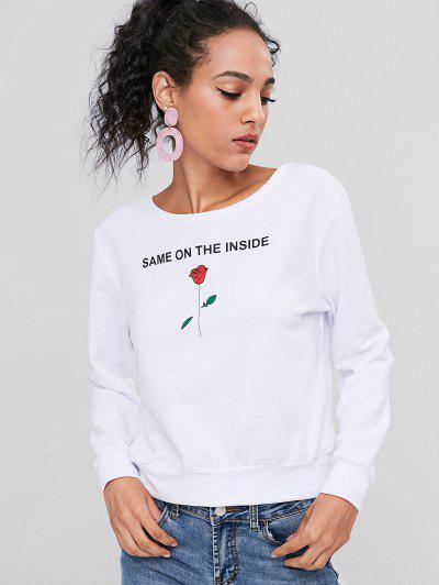 Rose Print Graphic Sweatshirt - White S