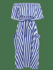 Hombros Cobalto A Descubiertos Vestido Rayas Informal Azul Con S wqA0P1xC