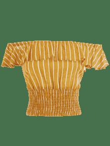 Abeja De S Off Shoulder Top Amarilla Ruffles Stripes qYCwz