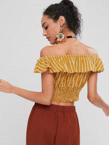 Stripes De Top Off Amarilla Abeja Shoulder S Ruffles FxqaF1
