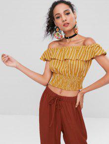 Stripes Ruffles Off Shoulder Top - Amarilla De Abeja M