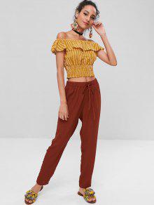 792c2b7b5c8 24% OFF] 2019 Stripes Ruffles Off Shoulder Top In BEE YELLOW   ZAFUL