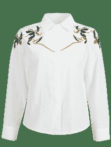 S Arriba 243;n Bot Blanco Bordado Hojas Camisa 5YOwgxwq