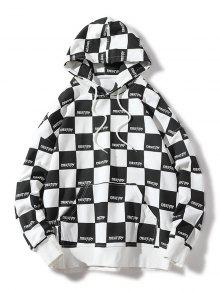 M Print Check Negro Drawstring Allover Hoodie R4Xwn5