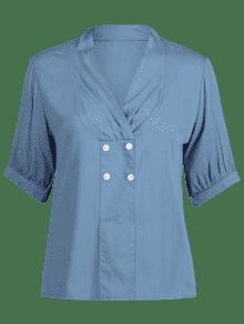 Sobrepelliz Casual L Abotonada Blue Blusa Denim 1vqW1r7wB