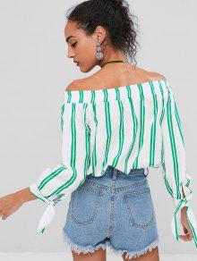 Con Tie Bosque Stripe Off Blusa Sleeve Verde Descubiertos De L Hombros CICqw6xd