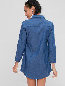 De M Vestido Acero Con Camisa Botones Bolsillo Azul wO7SR6fxg