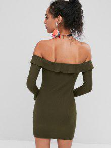 fe80c782462 37% OFF  2019 Off Shoulder Ruffles Fitted Dress In ARMY GREEN