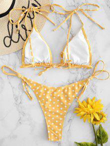 a33fb8011ad 15% OFF   HOT  2019 ZAFUL Polka Dot String Bikini Set In RUBBER ...