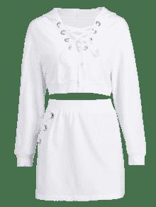 Conjunto Con Cordones Blanco Falda Y S Capucha Con rg6qBr