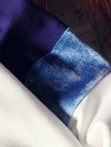 L Ragl De Letras En Capucha Sudadera Estampado De 225;n Con Con Manga Panel Terciopelo De Azul 8I8zfvZq