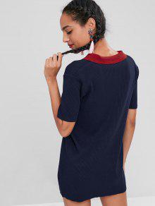 Profundo En Azul Con Polo Block Color Vestido Costuras 0PA4fq