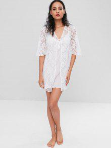 fe2a8e3c8a5b 23% OFF] 2019 Slip Sheer Babydoll And Lace Robe Set In WHITE   ZAFUL