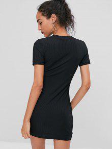 Mini Negro S Acanalado Medio Vestido gwqxO84nU