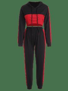De Pantal Con Con Pantalones Negro 243;n Textura Contraste Capucha En S Conjunto Y AXxCUwAq